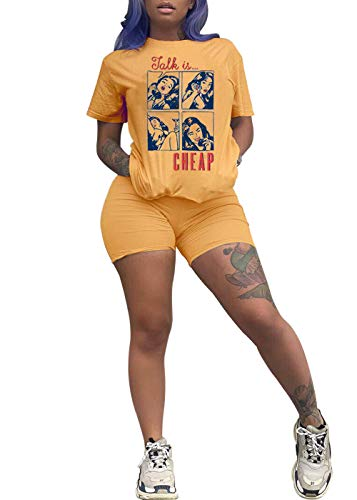 VNVNE Women Casual 2 Piece Outfit Short Sleeve Cartoon Print T-Shirts Sport Shorts Set Club Jumpsuit Rompers (Yellow, XXL)