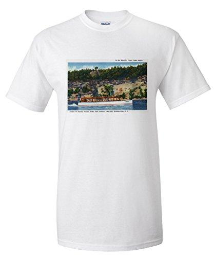 Watkins Glen, New York - Capt. Palmers Lake Sit on Stroller IV Boat Scene (White T-Shirt XX-Large)