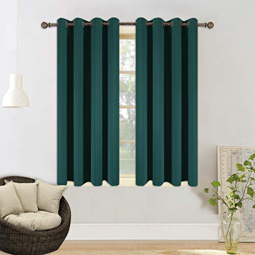 YGO Bedroom Short Curtains Nursery Room Darkening Grommet Curtain Panels Privacy Protect for Kitchens Small Window 52 Wide by 45 Long Hunter Green 2 Pcs