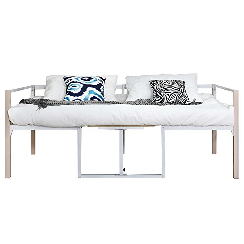 GreenForest Daybed Bed Frame with Wooden Board Mattress Support Foundation Steel Slat Platform Base Twin Size by GreenForest