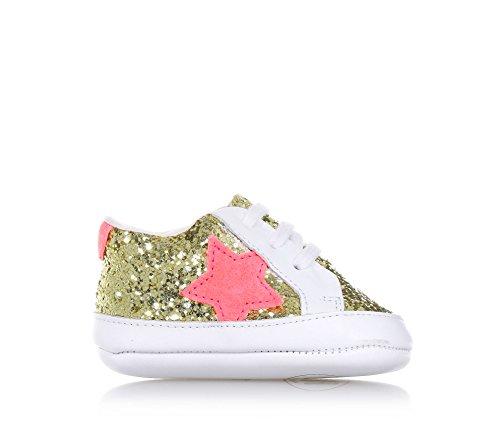 Pèpè Goldener Schuh für Die Wiege mit Schnürsenkeln Aus Leder und Glitzern, Made in Italy, Baby Mädchen-19