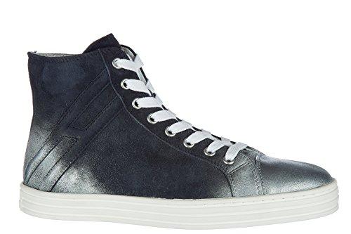 De Hogan Rebel Vrouwen Schoenen Vrouwen Suède Schoenen Hoge Sneakers R141 Blu