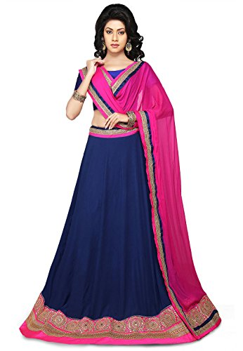 Utsav Fashion Embroidered Faux Crepe Lehenga in Dark Blue