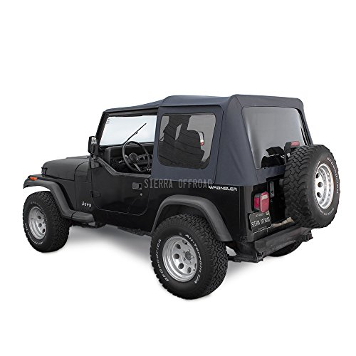 Sierra Offroad Jeep Wrangler YJ (1988-95) Factory Style Soft Top with Tinted Windows, without Upper Doors Black Denim