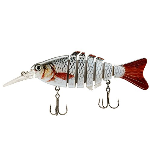 Rose Kuli Life Like Hard Body Swim Multi Jointed Hard Fishing Lure Hook Size #6 Beige, 3.8