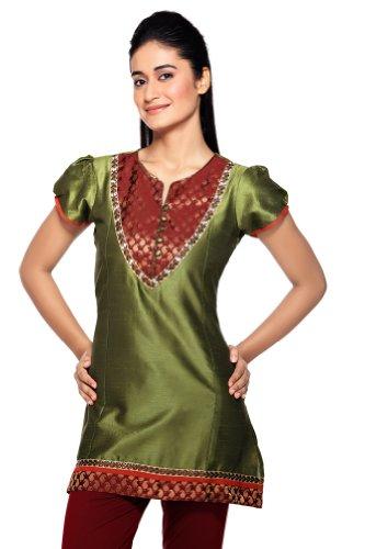 Women's Indian MixNMatch Kurta Olive X-Small by In-Sattva