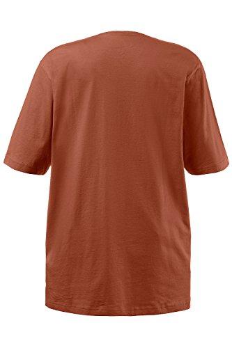Ulla Popken Damen große Größen | T-Shirt, Basic | Regular, Relaxed Fit | V-Ausschnitt, Halbarm, uni | REINE Baumwolle | bis Größe 66/68 | rostorange 46/48 515283 63-46+