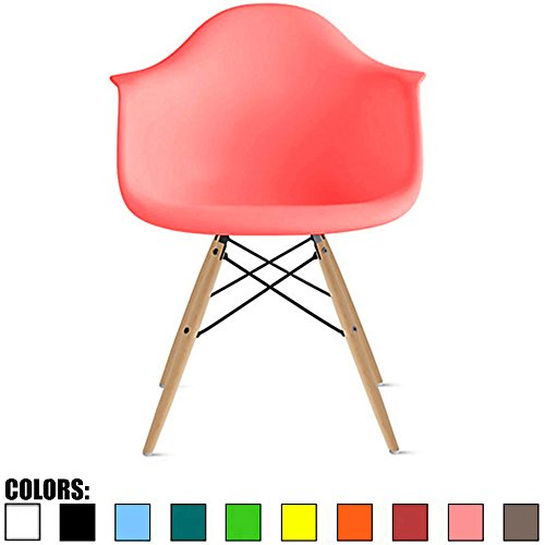 Eiffel Wood (2xhome Pink - Eames Chair Armchair Natural Wood Legs Eiffel Dining Room Chair - Arm Chair Arms Chairs Seats Wooden Wood Leg Dowel Leg Legged Base Molded Plastic)