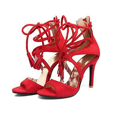 Sandalias Rojo Oficina Mujer y LvYuan almond Vestido Fiesta Tacón Noche Negro Vellón Trabajo Stiletto y Otro Almendra XIwXUx6