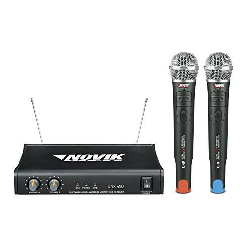 NOVIK NEO UNK-450 Dual Channel Professional Wireless Microphone UHF System (Two Microphones and Batteries Included) (Estudio 450)