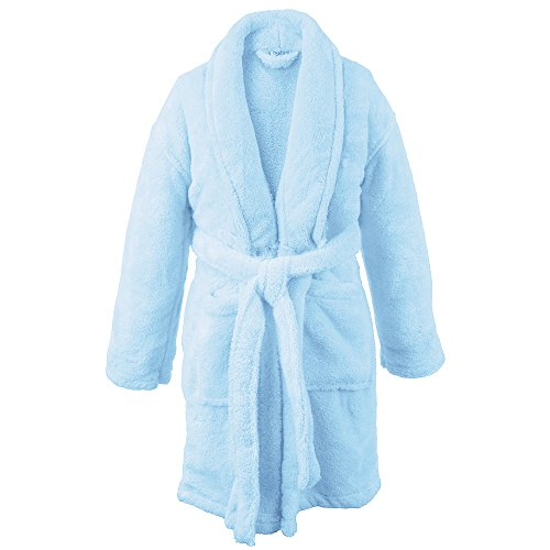 BC BARE COTTON Kids Microfiber Fleece Shawl Robe - Girls - Turquoise - Large -