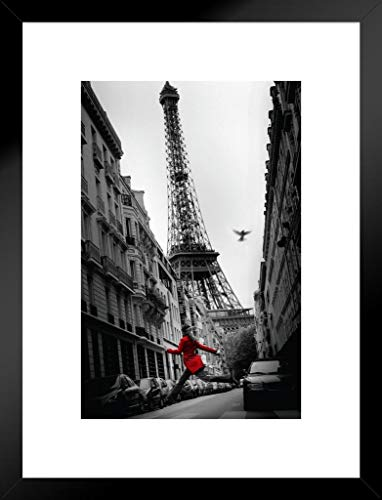 Pyramid America La Veste Rouge Eiffel Tower Paris France European Travel Black White Photograph Matted Framed Wall Art Print 20x26 inch