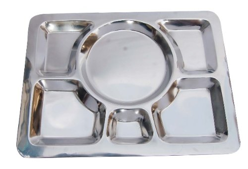 Insideretail 6 Compartment Rectangle Stainless Steel Indian Thali Plate (Set of 12), Silver by Insideretail