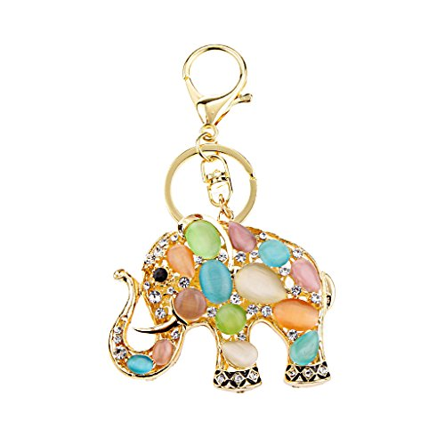 MagiDeal Charme Porte-clés Mousqueton Pendentif Strass éléphant Chaîne Clef Multicolore