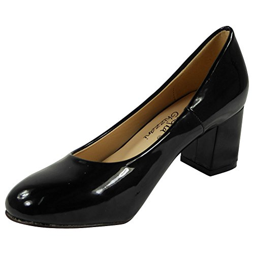 New Womens Ladies Low Cuban Heel Slip On Work Office Comfy Court Shoes Size 3-8 Black RQm1Eo