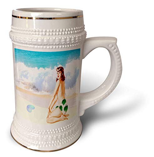 Ceramic Stein Retro - 3dRose lens Art by Florene - Retro Pinups - Image of Ocean Waves Beach And Shell With Back Of Topless Pinup - 22oz Stein Mug (stn_315295_1)
