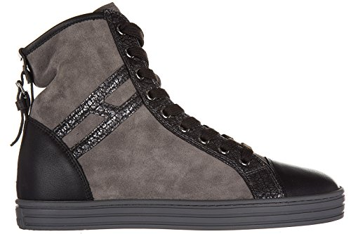 Hogan Rebel chaussures baskets sneakers hautes femme en daim r182 allacciato cin