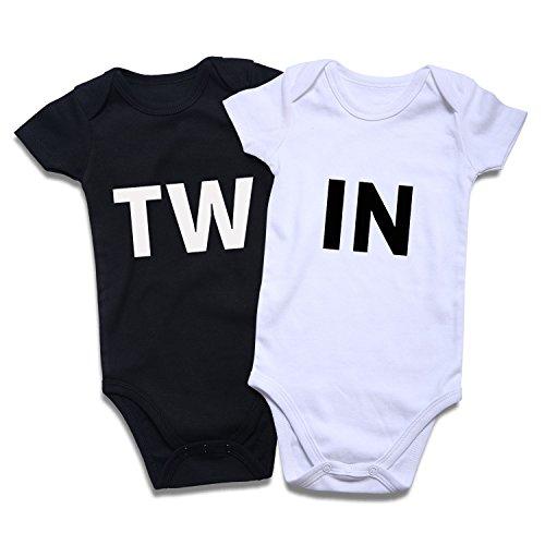 (DEFAHN Twins Infant One Piece Bodysuit Unisex Short Sleeve OnesieT-Shirt 0-24 Months (Twin, 0-3 Months))