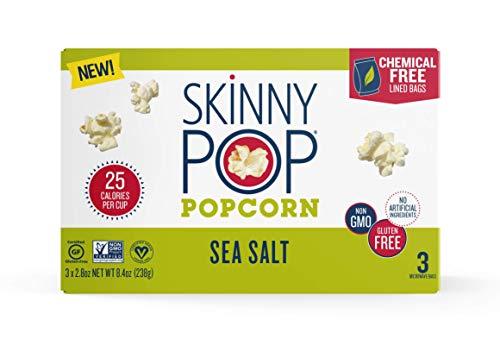 SkinnyPop Microwave Sea Salt Popcorn Bags, Healthy Snacks, 2.8oz Microwavable Bags (Pack of 36)