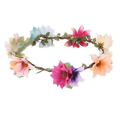 LooBooShop Handmade Artificial Colorful Flowers Wreath Headband Women Girls Flower Crown Wedding Party Bridal Hair Accessories