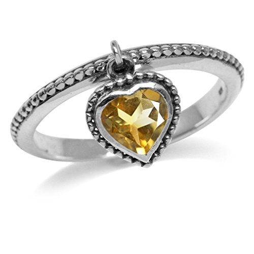 Dangle Natural Heart Shape Citrine 925 Sterling Silver Stack/Stackable Ring Size 9