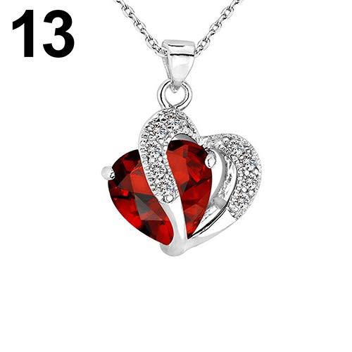 (856store New Women Fashion Heart Teardrop Rhinestone Pendant Necklace Jewelry Charm Gift - Silver &)