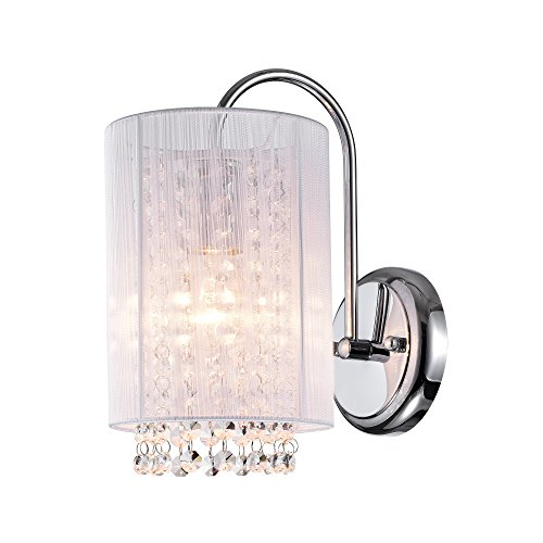Crystal 1 Sconce Light (LaLuLa Crystal Wall Sconce 1 Light Chrome Finish Wall Lighting White Shade Wall Lamp 17167)