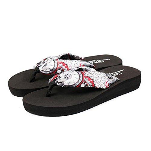 Size EU Black cuña Angel Sandalias Zapatillas love 2 de Chancletas Brown de Mujer Lady beauty para Color Flop Flip Chanclas 36 3 wwBxA