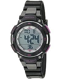 Women's 45/7058BKPR Purple Accented Digital Chronograph Black Resin Strap Watch