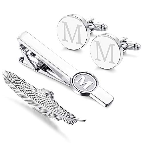 LOYALLOOK Initial Cufflinks and Tie Clip for Men Women Engraved Shirt Cufflink Alphabet A-Z Tie Bar Set for Business Wedding...