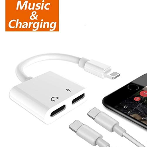 Dual Lighting Port Jack Adapter Headphone Charge and Audio Splitter, 2 in 1 Earphone AUX Music Cable Charger Connect Compatible with iPhone X/8/8 Plus/7/7 Plus/XR/XS/XS MAX(White) ()