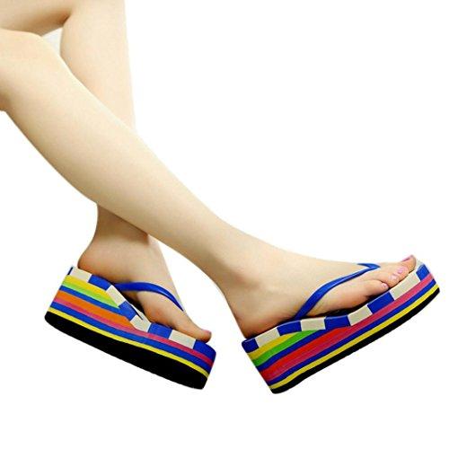 Transer® Damen Zehentrenner Sommer Casual Schuh Sandalen Strand Sandelholz Blau