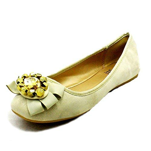 to Flat Bow Large SendIt4Me Ladies Party Shoes Sparkly Jewel with Front Cream qf6ZBw