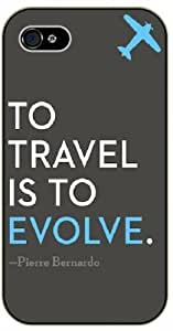 To travel is to evolve - Pierre Bernardo - Blue airplane - Adventurer iPhone 4 4S Black plastic case