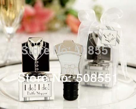 XuBa Black and White Alloy Bride and Groom Bottle Stopper, Wine Bottle Stopper(Set of 2) for Wedding Show