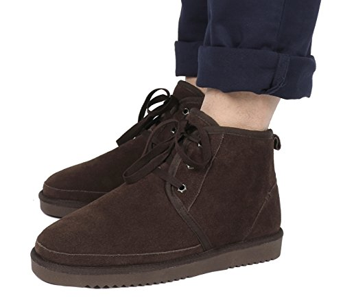 DREAM PAIRS Mens Sheepskin Fur Moccasins Slippers Wolly-brown 3RrV82