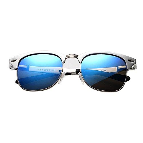 Silver Frame Blue Mirror 2015 Aluminium Mens Vintage Polarized Sunglasses Womens Retro Wayfarer - Clubmaster Aluminium