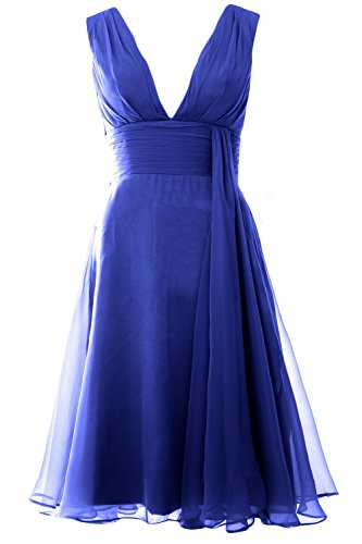 MACloth Women Deep V Neck Cockltail Dress Simple Short Wedding Party Formal Gown Azul Real