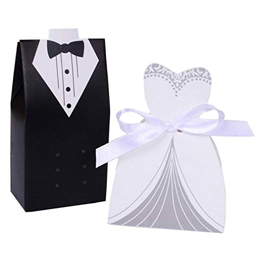 - 100pcs Bridal Gift Cases Groom Tuxedo Dress Gown Ribbon Wedding Favors Candy Box Sugar Case Wedding Decoration (Black+White)