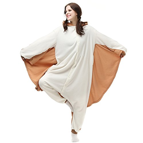 Plus Size Iron Woman Costume (Kigurumi Onesie Cosplay Costumes, Hooded Animal Pajamas For Women and Men, Cozy Plush Adult Jumpsuits/Lounge Wear For Halloween (M/L, Brown Flying Squirrel))