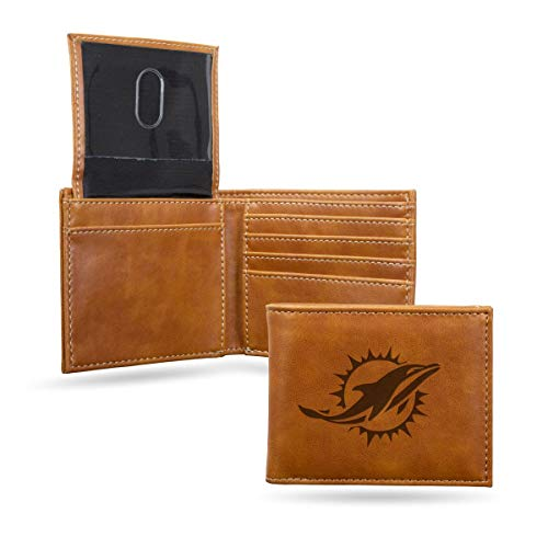 Rico Industries NFL Miami Dolphins Laser Engraved Billfold Wallet, Brown