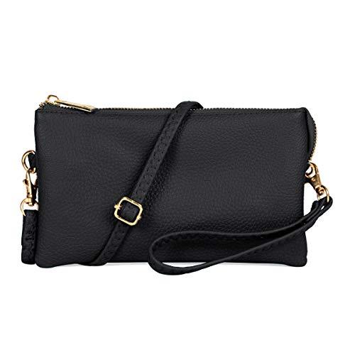 Convertible Vegan Leather Wallet Purse Clutch - Small Handbag Phone/Card Slots & Detachable Wristlet/Shoulder/Crossbody Strap ()