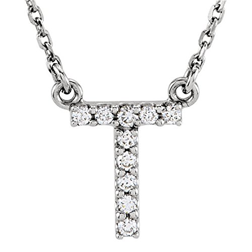 0.12 Carat (ctw) 14K White Gold Diamond Uppercase Letter T Initial Pendant (Silver Chain Included) (Necklace White Engagement)