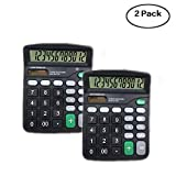 12-Digit Standard Desktop Calculators Set of 2, Dual Powered Office Calculator with Large LCD Display and Large Buttons, Basic Handheld Calculator. (Black)