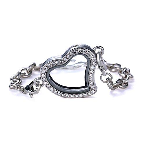Bling Stars Glass Heart Shape Rhinestone Floating Charms Living Memory Locket Bracelet - Perfect for Women Girls - Floating Glass Ring