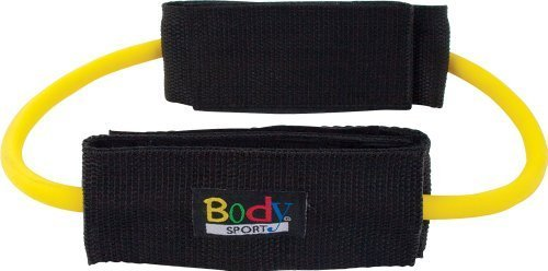 Body Sport Medium Resistance Loop Tubing with Ankle Cuffs, Gelb by Body Sport