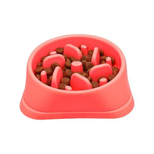 Dog Bowls Slow Feeder Fun Interactive Anti-Choke Pet Bowl Non-Slip Drink Water Bowl Healthy Food Bowl Bloat Stop Happy Foraging Bowl (Red)