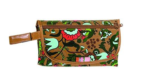 isoki 18192en bolsa plegable cambiador Change Mat Clutch–Ginger bloom, estampado, algodón de lino, 17x 28cm