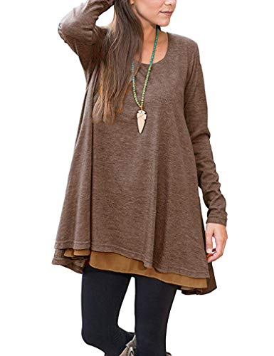 Poetsky Long Shirts for Leggings for Women Long Sleeve Flowy Tops (L, Coffe) (Tunic Length Tops To Wear With Leggings)