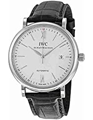 IWC Mens Quartz Stainless Steel and Leather Watch, Color:Black (Model: IW356501)